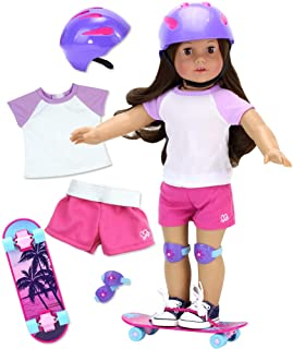 Sophia's 6 Piece Skater Set for 18 Inch Dolls   Palm Tree Skateboard, Helmet, Knee Pads, Stickers, Tee and Shorts for Dolls
