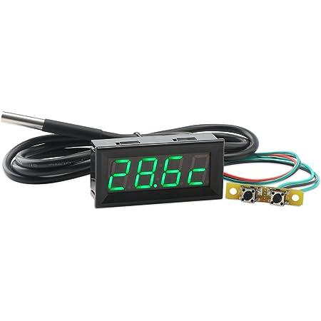 Droking Digital Multimeter 3in1 0 56 Grüne Led Auto Voltmeter Uhr Thermometer Mit 18b20 Sensor Sonde 100 Cm Dc7 30v Uhr Temperatur Spannungsmesser Volt Zeit Temp Monitor Baumarkt