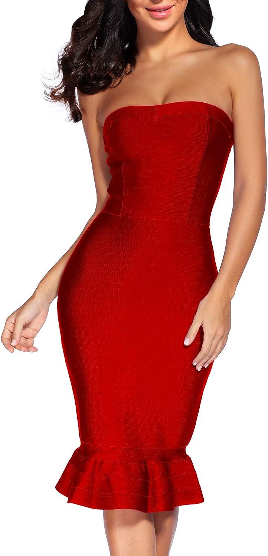 Women's Strapless Bandage Dress Celebrity Midi Evening Party Bodycon Dresses