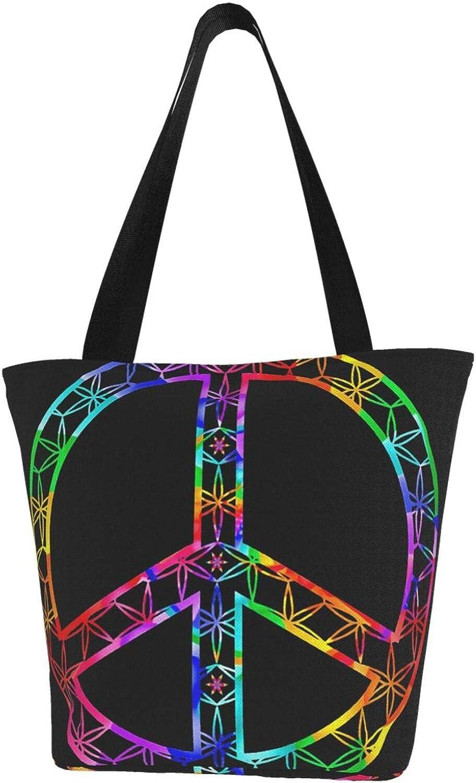Art Minimalism Peace Sign Rainbow Themed Printed Women Canvas Handbag Zipper Shoulder Bag Work Booksbag Tote Purse Leisure Hobo Bag For Shopping