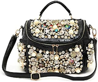 Runhuayou PU Fashion Europe And America Handbags Handmade Beaded Lacquer Face Pillow Bag Shoulder Bag Unfounded Adjustable Large Virgule Zipper Bag Pillow Bag Black Great for casual or many other occa