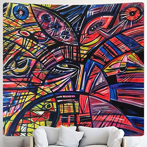 PPOU Tapiz de Personaje Abstracto decoración de Arte Bohemio para el hogar Mandala Hippie Manta psicodélica Tela Colgante A6 150x200cm