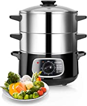 Secura 2-Tier Stainless Steel Food Steamer 8.5 Qt Electric Steamer with Glass Lid,..