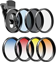 Apexel 52mm Filter Lens Kit (Graduated Filter Lens-Red Orange Yellow Blue, CPL, ND32, Star Lens-6 Point) for Smartphone Ca...