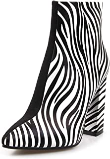 Patchwork Zebra Skin Ankle Boots for Women Fauxe Suede Flock Pointed Toe High Heel 9 cm Square Heel Zipper Short Boots Striped Spring US10