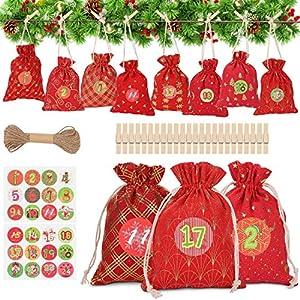 WOKKOL Bolsa de Regalo Navidad, Calendario Adviento, Calendario Adviento Navidad, 24 Calendario de Adviento, Bricolaje Calendario Adviento, Decoración Navideña para el Hogar(24PCS -8Patrones)