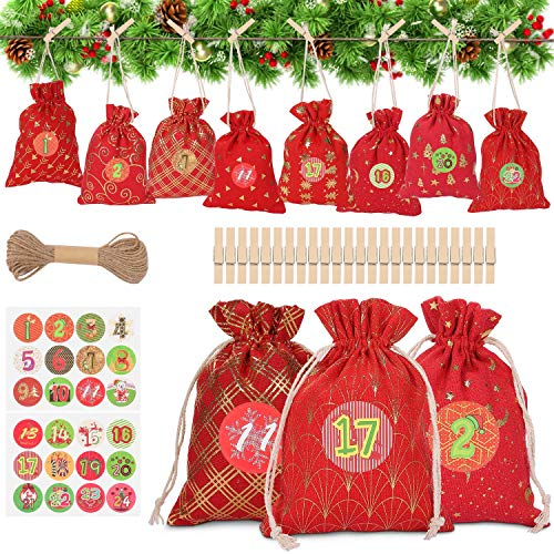 WOKKOL Christmas Bags Small, Calendar Bags, Christmas Bags for Sweets, DIY Advent Calendars, Advent Bags with Drawstring, Resusable for Christmas, Diy Craft Padding (24 PCS -8 Patterns)