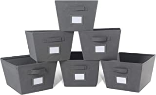 MAX Houser Storage Bins Cubes Baskets Containers with Dual Handles for Home Closet Bedroom Drawers Organizers, Foldable, Set of 6 (Grey)