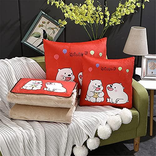 Manta de viaje 2 en 1 para cojín de viaje, manta de avión, manta cálida para descanso, coche, oficina, hogar, dormir siesta, manta de viaje (pequeño oso blanco rojo)