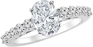 1.5 Ctw 14K White Gold Graduating Classic Oval Cut Diamond Engagement Ring (0.75 Ct J Color SI1 Clarity Center Stone)