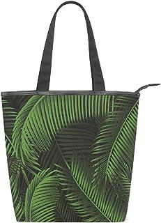 MALPLENA Schultertasche für Damen, mit grünen Blättern
