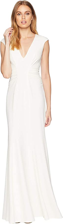 Cap Sleeve V-Neck Ruched Detail Gown