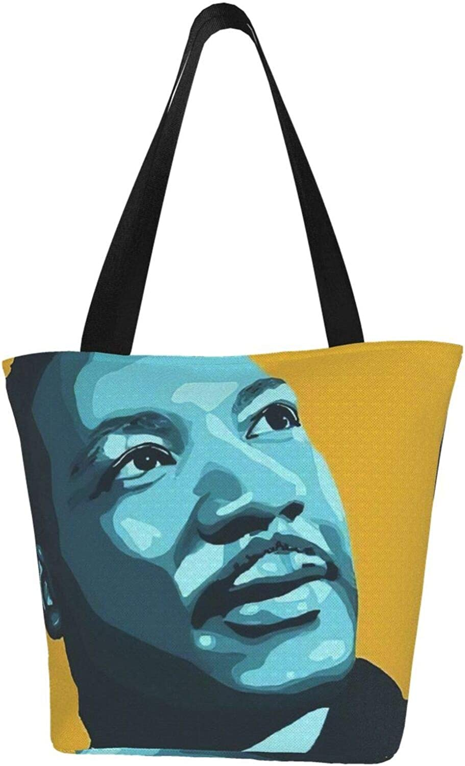 Cool Martin Luther King Day Respect Themed Printed Women Canvas Handbag Zipper Shoulder Bag Work Booksbag Tote Purse Leisure Hobo Bag For Shopping