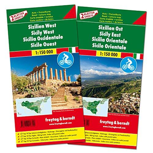 Sicilia, este y oeste. Mapa con rutas cicloturistas y de carreteras. 2 mapas. Escala 1:150.000. Freytag & Berndt.: Set wegenkaarten 1:150 000 (Auto karte)