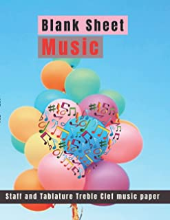 Blank Sheet Music Tablature Treble Clef 6 Lines music paper Colorful balloons done with retro bluesky backgroud cover