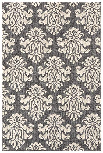 Garland Rug Americana Le Fleur Indoor/Outdoor Area Rug, 4 ft. x 6 ft, Cinder Gray/Ivory