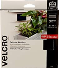 VELCRO Brand 91885 Industrial Fasteners Extreme Outdoor Weather Conditions | Professional Grade Heavy Duty Strength Holds up to 15 lbs on Rough Surfaces, 6in x 4in, 3 Strips