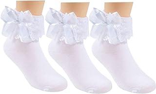3 Pack Little Girls Cotton Lace Ruffle Princess Style Dress Socks(2T-12T)
