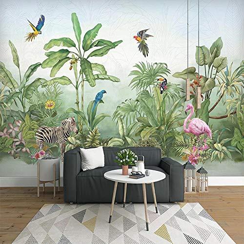 NIJP Papel Tapiz de Fotos Personalizado, Planta Tropical de la Selva Tropical Flor Pájaro Animal Bosque Grande Mural, paño de Seda Papel Tapiz para Sala de Estar Dormitorio 3D-Tamaño Personalizado