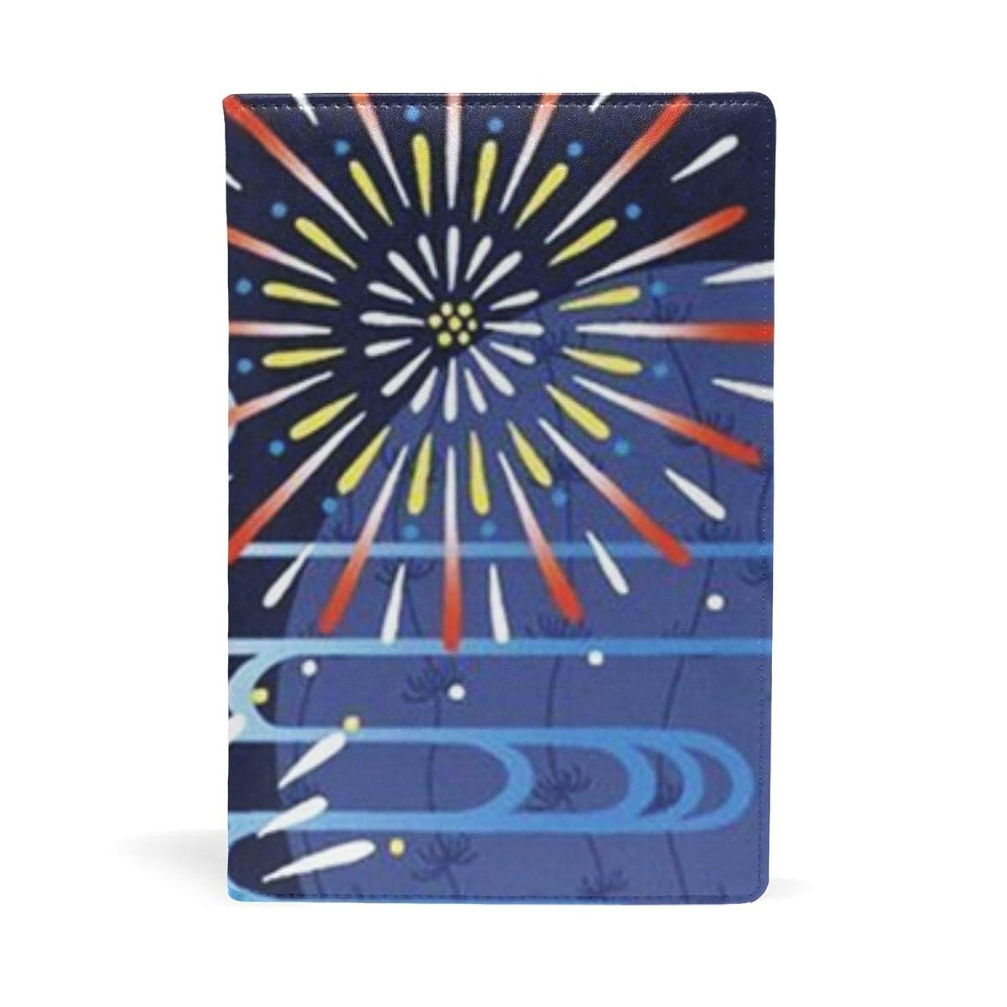 かわす申し込むディレクトリブックカバー 文庫 a5 皮革 レザー 金魚花火 文庫本カバー ファイル 資料 収納入れ オフィス用品 読書 雑貨 プレゼント