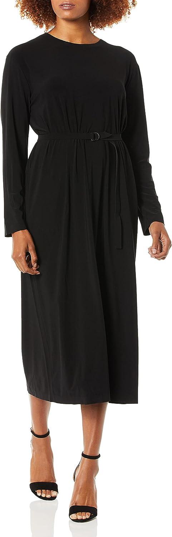 Norma Kamali Women's Boyfriend Long Sleeve Crew Midcalf Dress