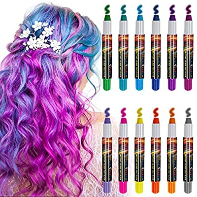 Hair Chalk for Girls, Tiction 12 Color Temporary Hair Chalk Pens Hair Color Pens, Washable Hair Coloring for Kids Women Hair Dyeing Birthday Christmas Party Cosplay