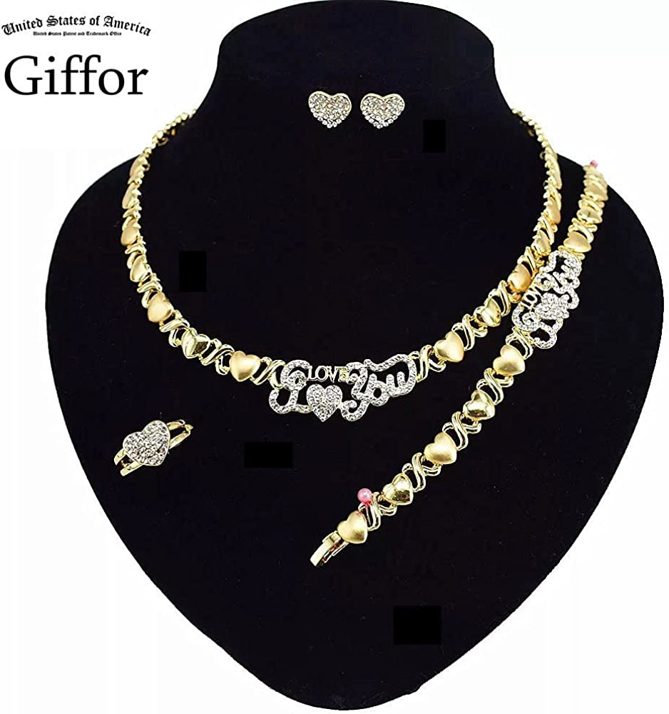 Giffor XOXO Jewelry Sets 14K Gold Filled LOVE Necklaces For Womens Earrings Bracelet Rings Gifts