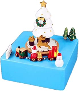 Christmas Gift Statues Art Ornament And Music Box Gift Wood Craft Figurines Sculptures