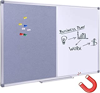 Grey Felt Bulletin/Dry Erase Combo Board, Magnetic Whiteboard/Grey Felt Bulletin Combination Board with Pen Tray, 36 x 24 Inch