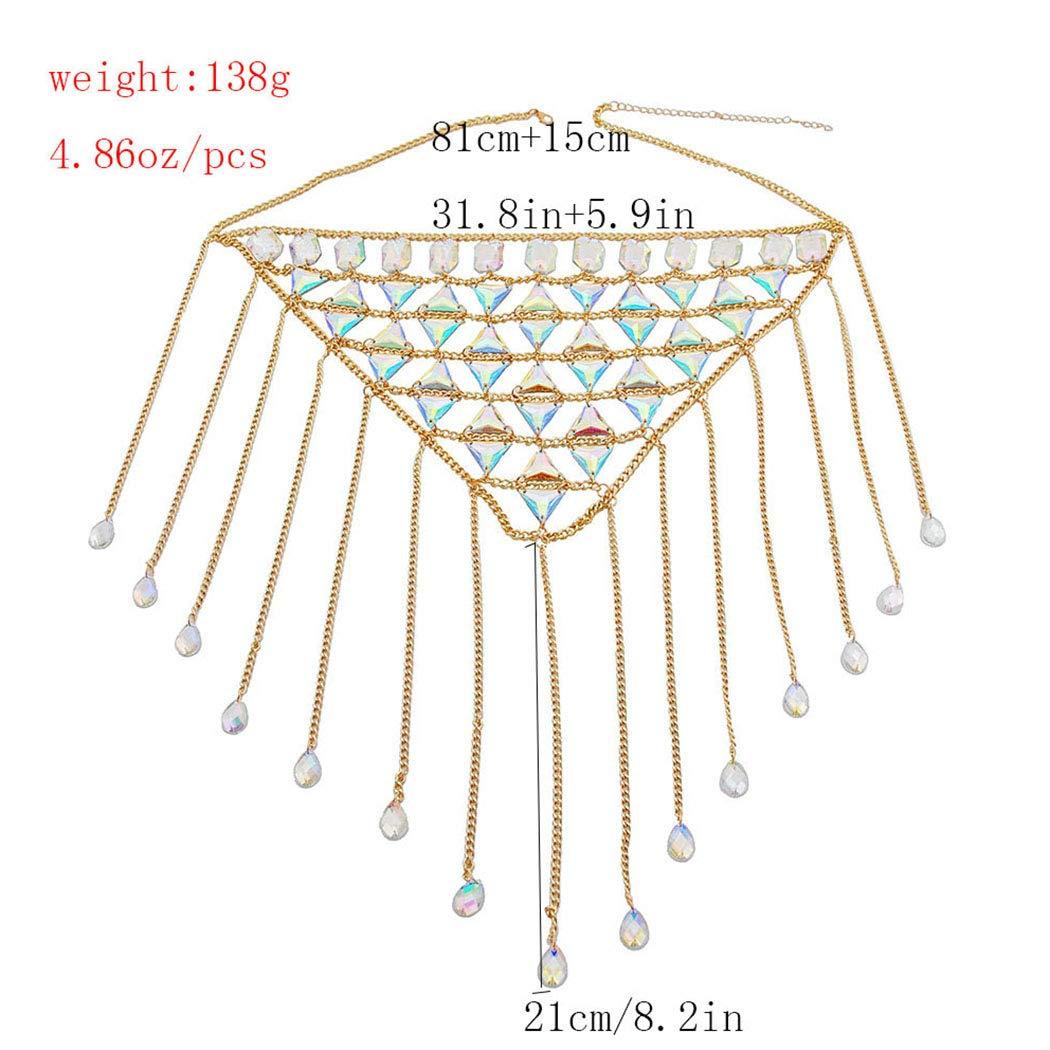 Nicute Boho Rhinestone Body Chain Set Gold Skirt Chain Summer Festival Costumes Bikini Jewelry for Women and Girls