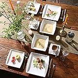 MALACASA, Serie Blance, 60 TLG. CremeWeiß Porzellan Geschirrset Kombiservice Tafelservice mit je 12 Kaffeetassen, 12 Untertassen, 12 Dessertteller, 12 Suppenteller und 12 Flachteller - 6
