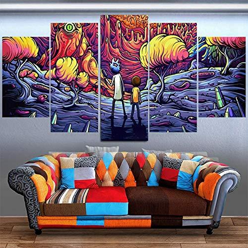 Cuadros de Lienzo para la decoración del hogar de la Sala de Estar sin Marco 5 Piezas Rick y Morty Pinturas HD Impresiones animación cómic póster Arte de Pared