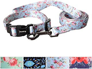 Ihoming Dog Collar and Leash Combo in Bohemia, Morocco, Floral and Dot Style Fit Small, Medium and Large Pets
