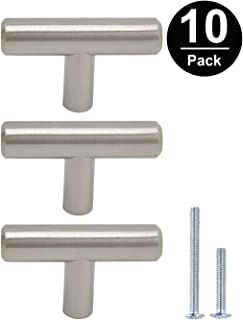 Gobrico Euro Style T-bar Handle Pull Knob For Kitchen Cabinet Cupboard Drawer Dresser Satin Nickel - Single Hole, 50mm/2in Overall Length- 10Pack
