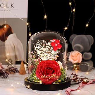 shirylzee Fleur Éternelles de Rose, Rose sous Cloche en Verre 100 Langues je taime Lampe Rose Fleurs Artificielles avec Lu...