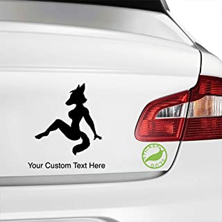 Stickerslug Custom Black 8 inch Fox Sexy Woman Girl Lady Furry Mudflap Custom Text Decal Sticker for car Truck Window Bumper Boat Laptop Tablet Customizable Text Stickers