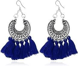 Bestga Boho Tassel Earrings, Long Dangle Bohemian Earrings Fish Hook Drop Earring Handmade Statement Fringe Earrings for Women Girl Daily Wear - Idea for Gift Party Wedding Banquet Dating - Blue