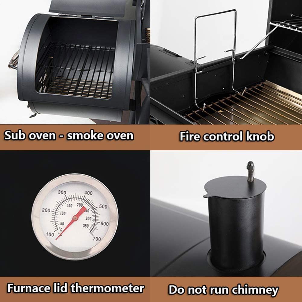 LW Barbecue À Charbon De Bois, BBQ Portable, avec Thermomètre De Température Barbecue D'extérieur, Cuisine De Camping, Barbecue Portatif,Package 1 Package 3
