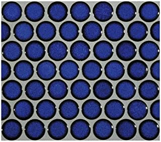 12x12 Cobalt Blue Porcelain Penny Round Glossy Look for Bathroom Floors and Walls, Kitchen Backsplashes, Pool Mosaic Tile