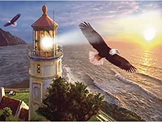 DIY 5D Diamond Painting by Number Kit,Lighthouse Eagle Decor Paint by Sticker Rhinestone Embroidery Cross Stitch Kits Supply Arts Craft Canvas Wall Decor Stickers Home Decor 16x12 inches