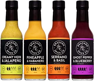 Four Pack Bundle By Bravado Spice Gluten Free, Vegan, Low Carb, Paleo Hot Sauce All Natural 5 oz Hot Sauce Bottle Award Wi...