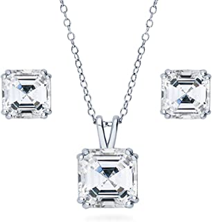 BERRICLE Rhodium Plated Sterling Silver Asscher Cut Cubic Zirconia CZ Solitaire Bridal Bridesmaid Necklace and Earrings Set
