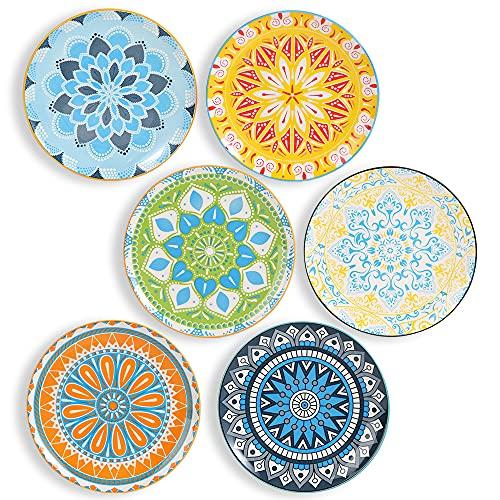 Platos Llanos Porcelana - Juego de Platos de 6 Colores - Platos Postre| Ensalada | Aperitivo | Fruta - Apto para Microondas y Lavavajillas - 20.3 cm