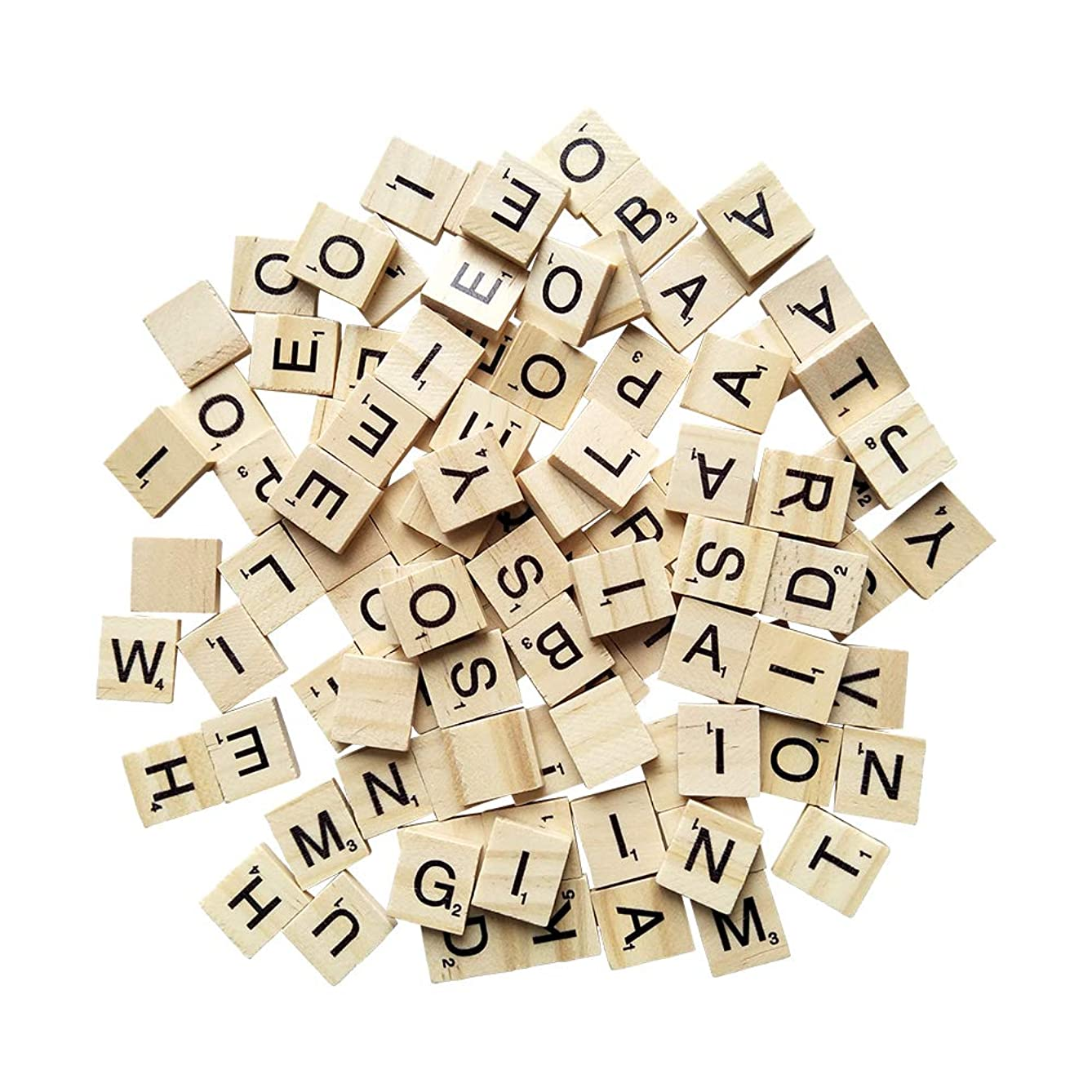 YH Poker 200 Wood Scrabble Tiles,Scrabble Letters for Crafts - DIY Wood Gift Decoration - Making Alphabet Coasters and Scrabble Crossword Game