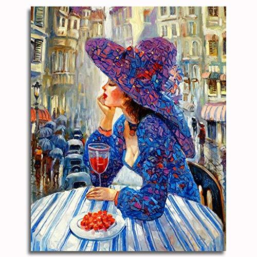 Pintar por números para Adultos y niños Kits de Regalo de Pintura al óleo DIY -Sexy Diosa con Sombrero 16 * 20 Inch