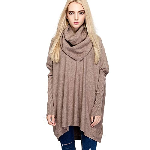 532ba4f892 HAPEE Women Sweaters Cowl Neck Oversized Knitted Sweaters for Women Pullover
