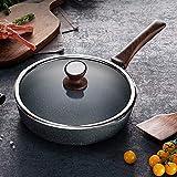 HYY-YY Freír palo-Pan no Estufa sartén Compatible with freír carne saludable Pan Cocina de gas Conjuntos Pan(Color:Negro,tamaño:28 cm)
