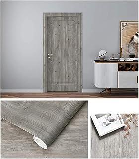 Autoadhesivo Gris Madera Vinilo Muebles Etiqueta de la pared Papel pintado para el piso Armarios de cocina Estantes Parede...