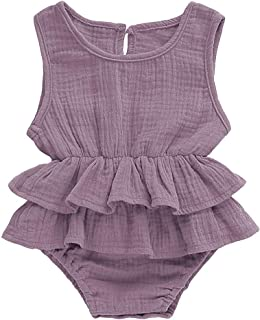 Infant Baby Girl Romper Bodysuits Cotton Ruffle Sleeveless One-Piece Romper Jumpsuit Summer Outfit Clothes 0-18M