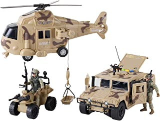 Military Action Figures and Vehicles Set - Army Helicopter Toy, Military Truck, Army Quadrobike, 2 Military Action Figures - Lights and Sounds Vehicles - Friction Powered Army Trucks